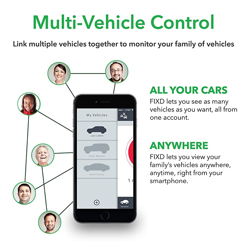 FIXD links all your vehicles together to monitor.