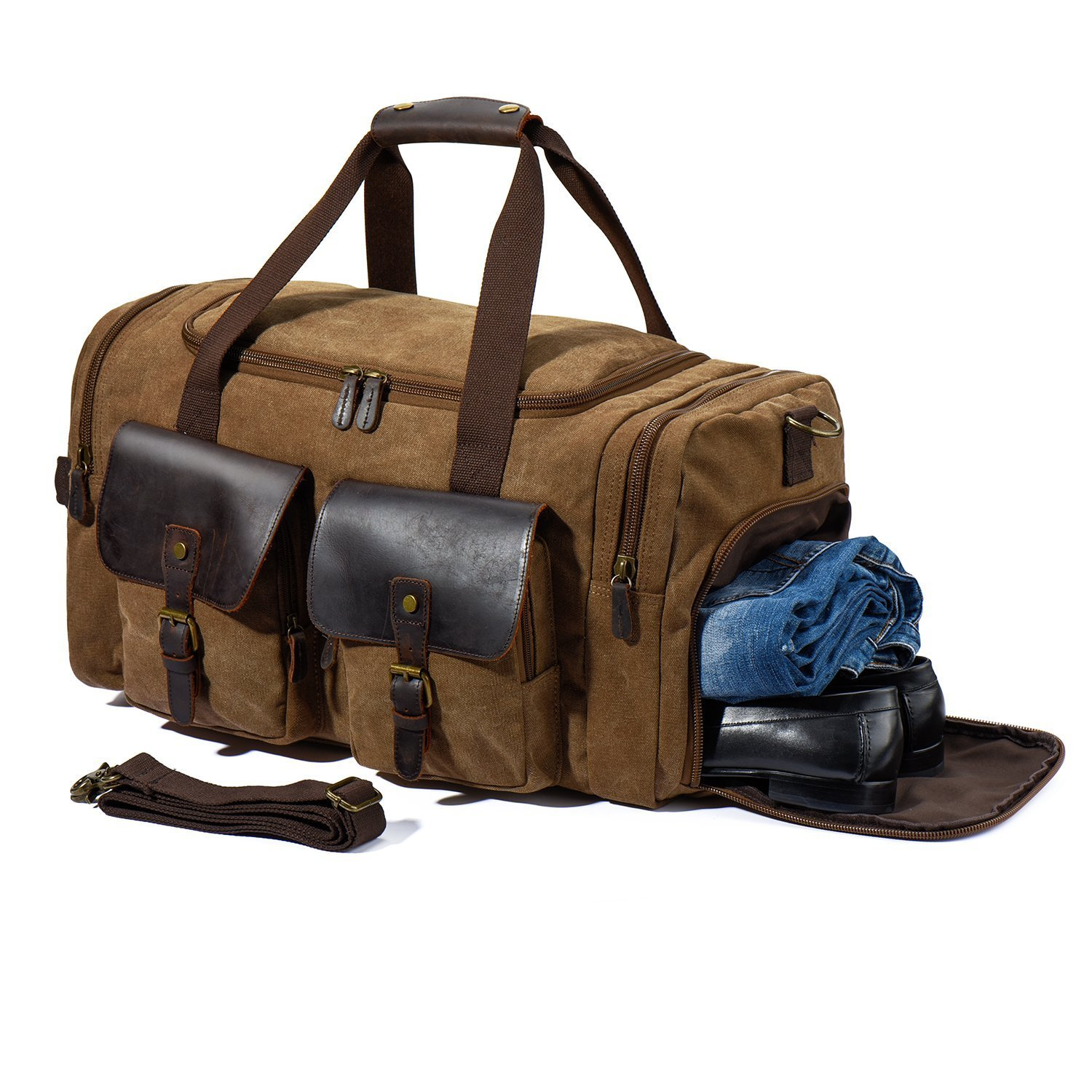 Travel Duffle Bag Leather Canvas Bag Weekend Overnight Bag Flight Bag Khaki