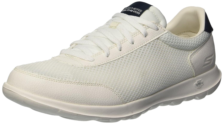 Skechers Women's Go Walk Lite Flare Sneaker B07B1WQN69 9 M US|White/Navy
