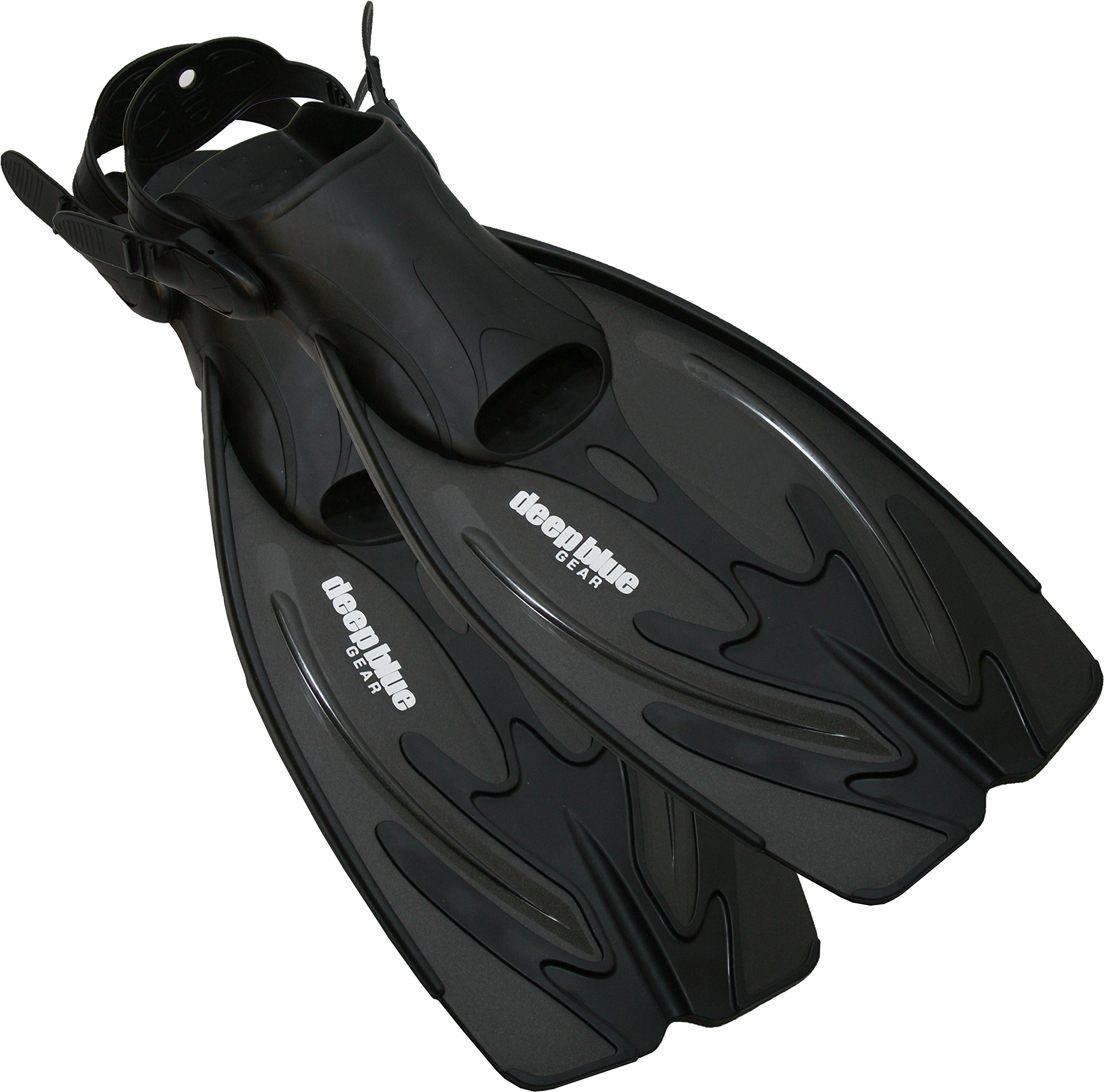 Deep Blue Gear Current Fins for Diving, Snorkeling, and Swim, Adult Size Large/X-Large (Men's 10-12, Women's 11-13), Black