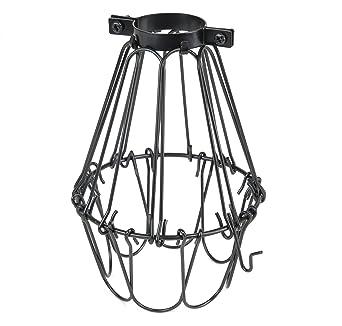 Industrial Vintage Style Black Hanging Pendant Light Fixture Metal Wire Cage  , Lamp Guard, Adjustable