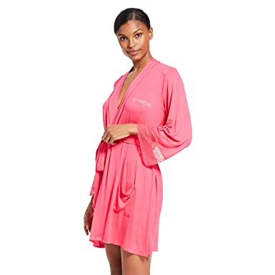 13e518cace495 bebe Womens Long Sleeve Belted Bathrobe with Pockets at Amazon Women s  Clothing store