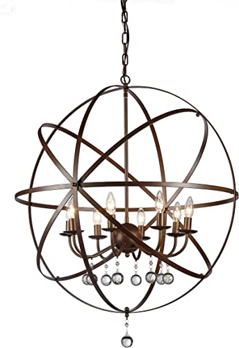 Whse of Tiffany RL8042 Jossie 8-Light Crystal Chandelier, 30 , Bronze