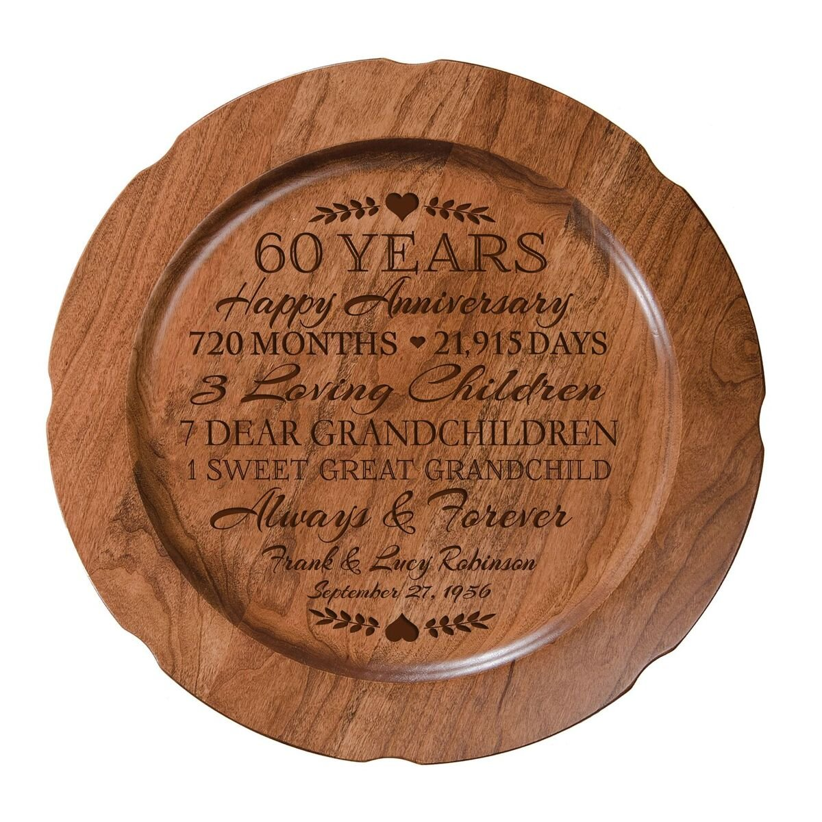 LifeSong Milestones Personalized 60th Wedding Anniversary Plate Gift for Couple, Custom Happy Sixtieth for Her, 12'' D Custom Engraved for Husband or Wife USA Made (Special Dates)