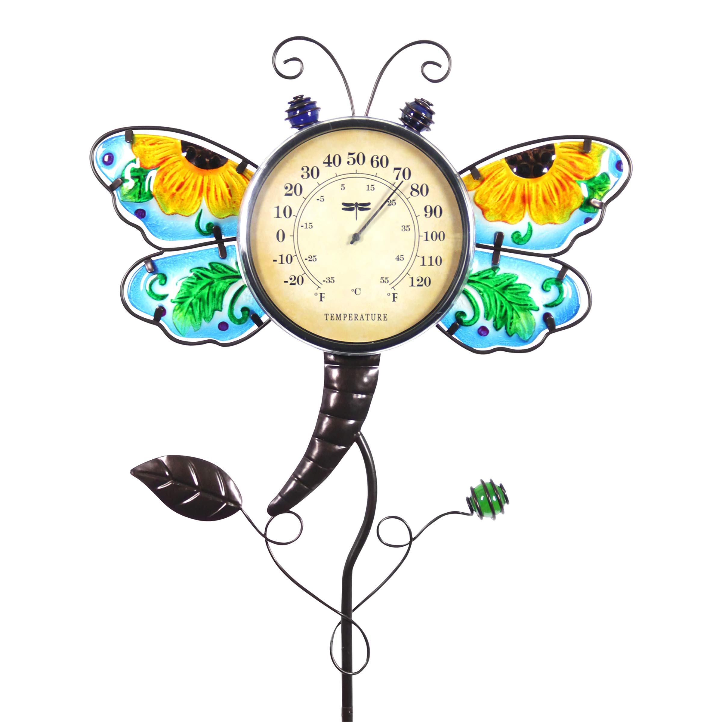 Exhart Dragonfly Thermometer Garden Stake - Dragonfly Decor w/Yellow Flower Glass Wings - Charming Garden Temperature Gauge Decorative Outdoor Thermometer for The Garden, Yard & Patio, 13 x 36''