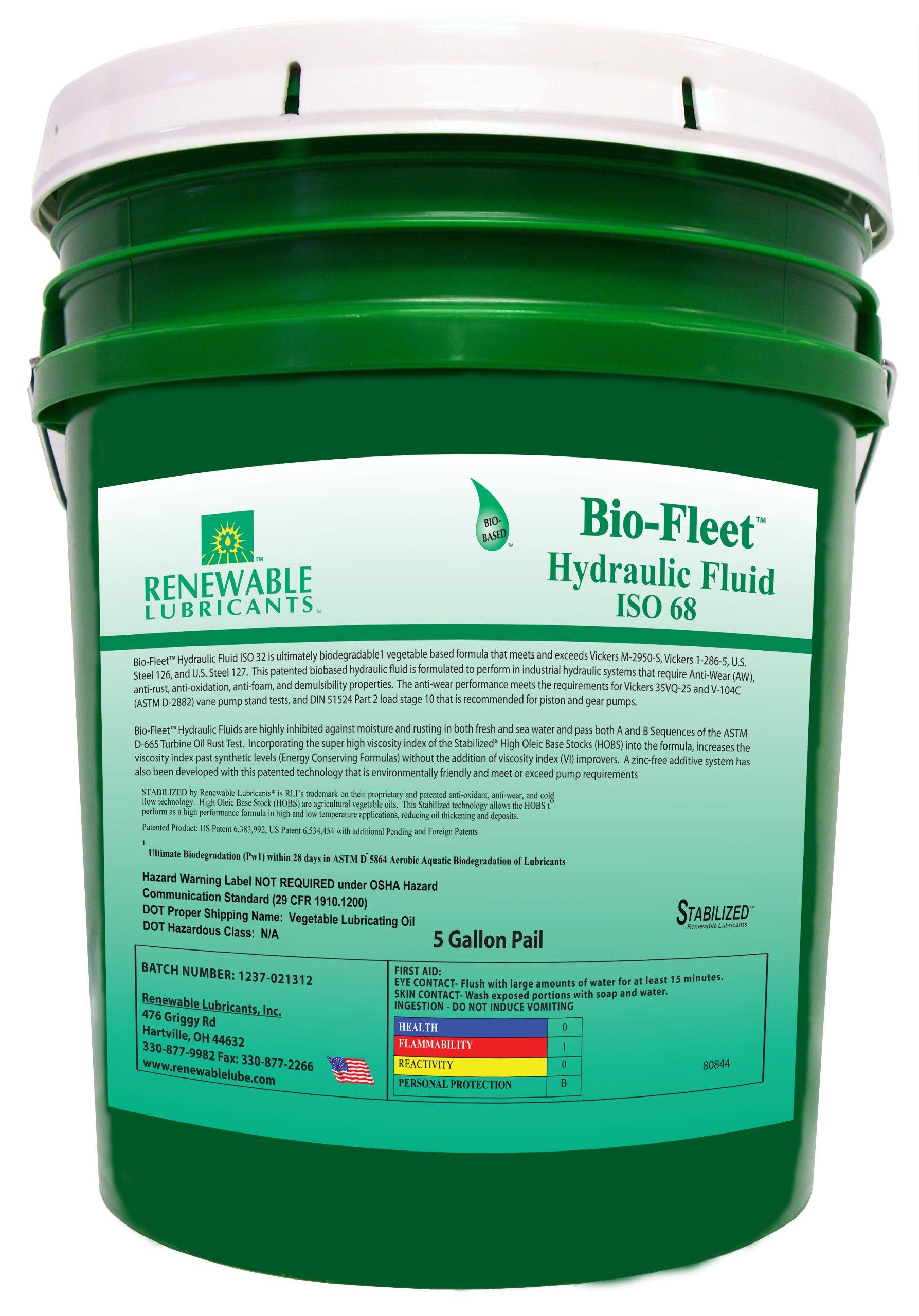 Renewable Lubricants Bio-Fleet ISO 68 Hydraulic Lubricant, 5 Gallon Pail