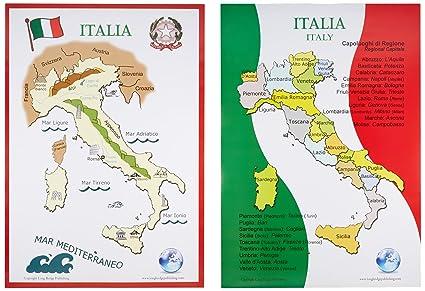 Amazon long bridge publishing italian language school poster long bridge publishing italian language school poster set maps of italy wall charts for gumiabroncs Image collections