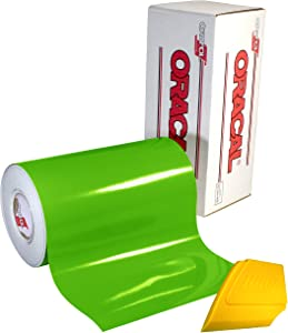 """ORACAL 651 Multi-Colored Vinyl Solvent-Based Adhesive-Backed Calendared Wrap Decals w/Yellow Multi-Purpose Squeegee (12"""" x 5ft, Lime Tree Green)"""