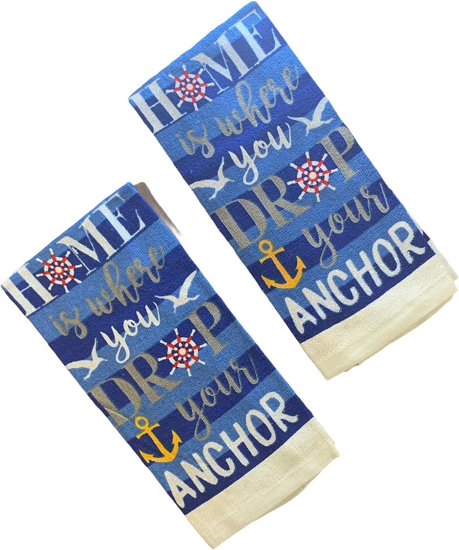 Nantucket Home Nautical Kitchen Dish Towels, 2 Piece Set (Anchor)