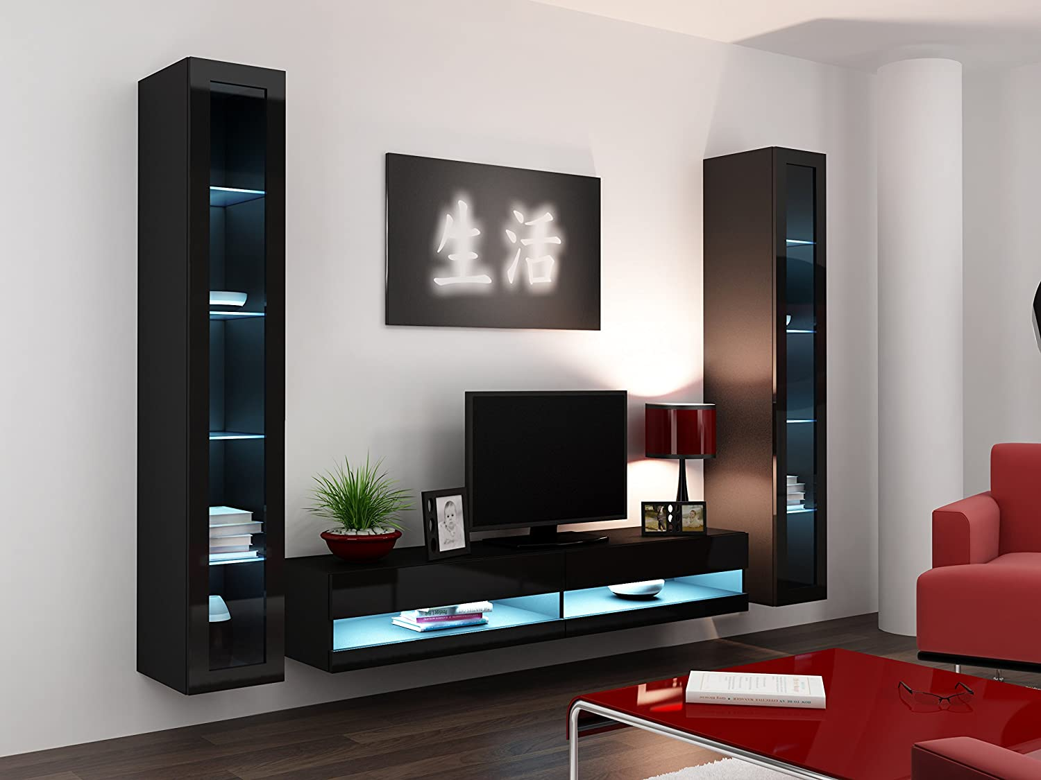High Gloss Living Room Set With LED Lights | TV Stand | Wall Mounted  Cabinet   Modern Display Units Floating Design (Black, 2 Wall Units U0026 1 TV  Unit): ...