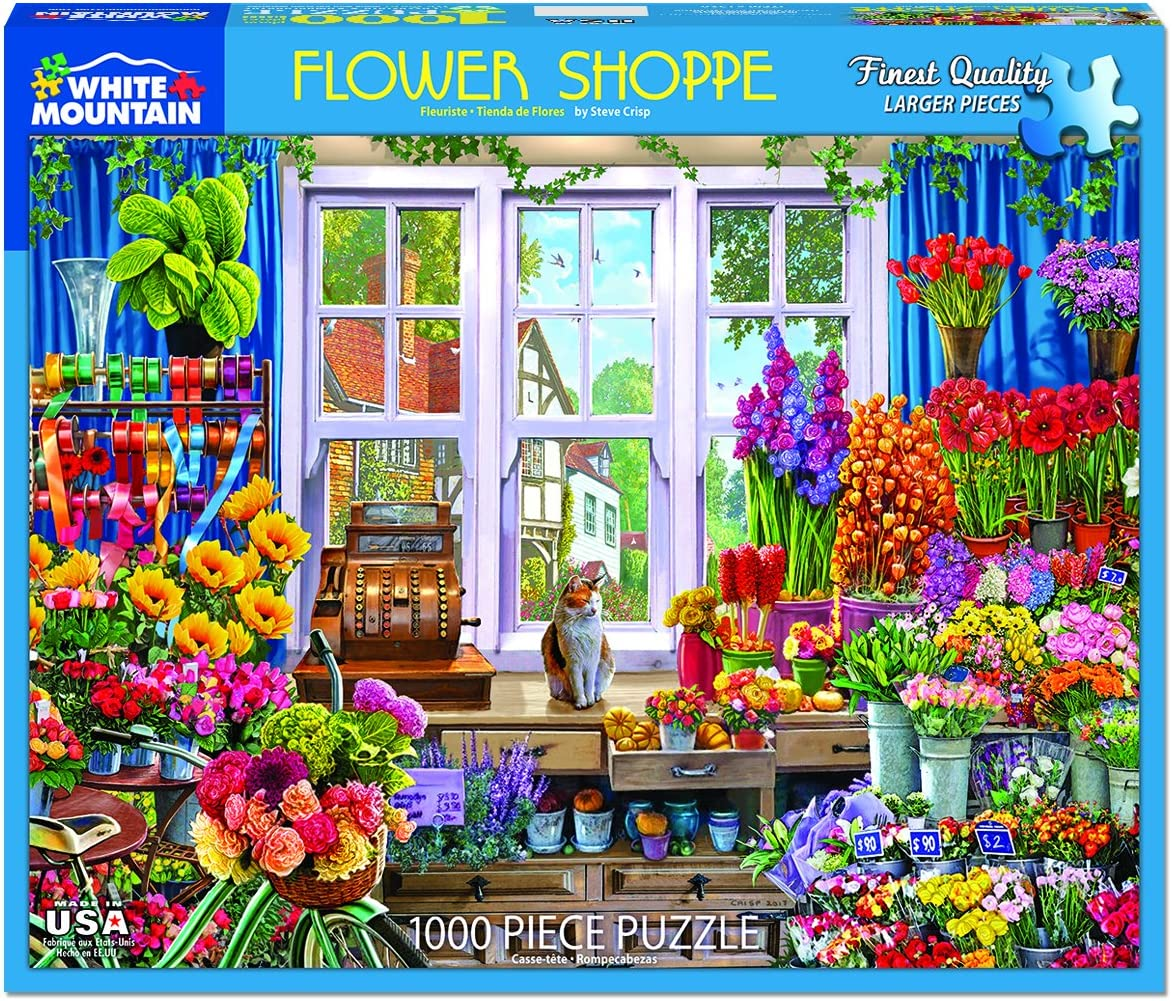 White Mountain Puzzles Flower Shop 1000 Piece Jigsaw Puzzle