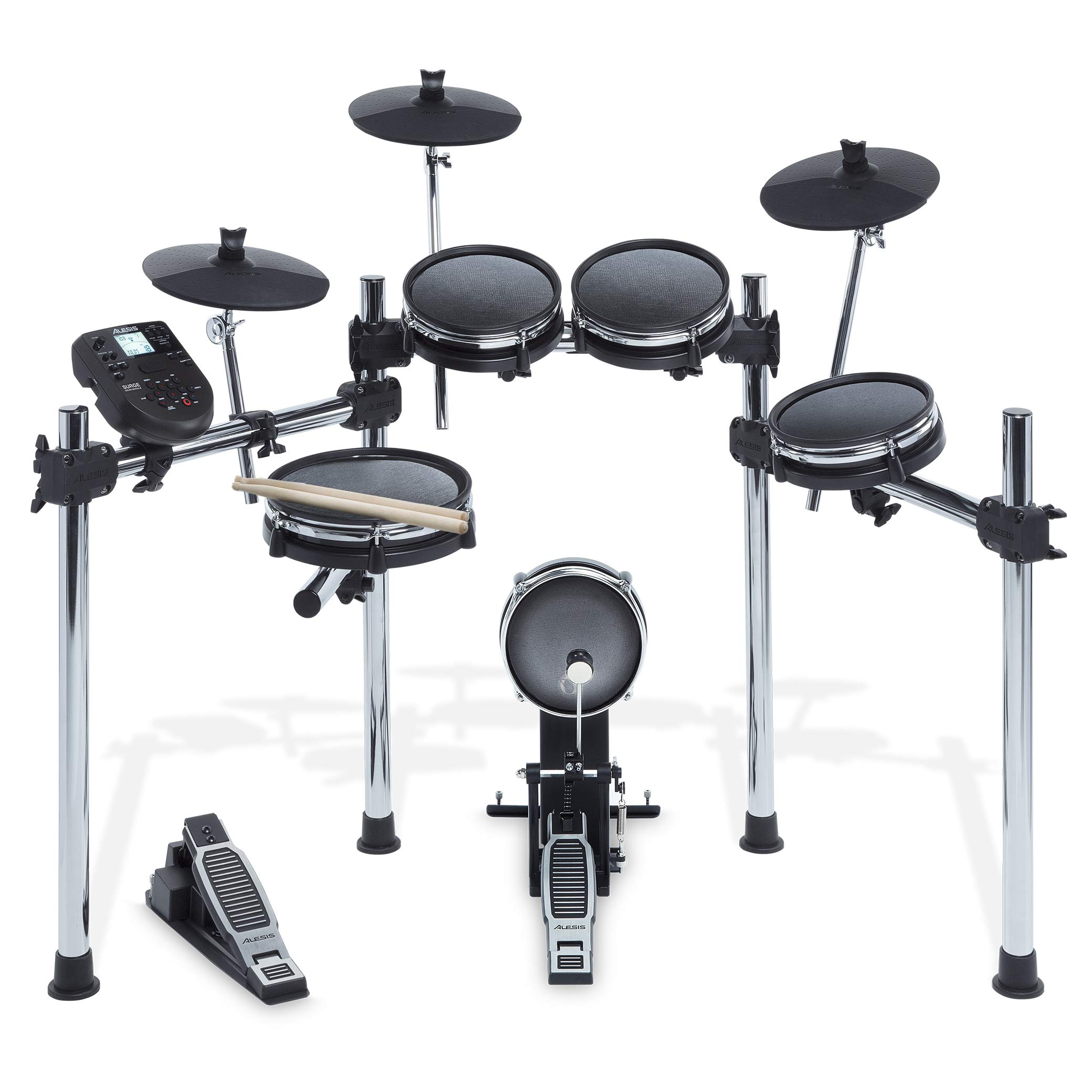 Alesis Surge Mesh Kit | Eight-Piece Electronic Drum Kit with Mesh Heads, Chrome Rack and Surge Drum Module including 40 Kits, 385 sounds 60 Play Aong Tracks and USB/MIDI Connectivity by Alesis