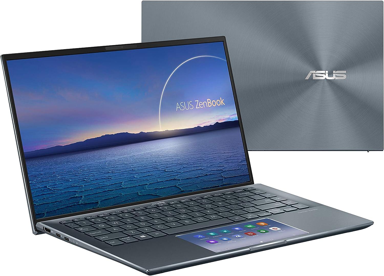 "ASUS ZenBook 14 Ultra-Slim Laptop 14"" FHD NanoEdge Bezel Display, Intel Core i7-1165G7, NVIDIA MX450, 16GB RAM, 512GB SSD, ScreenPad 2.0, Thunderbolt 4, Windows 10 Pro, Pine Grey, UX435EG-XH74"