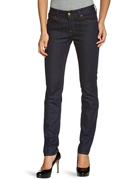 6afce9b598b 7 For All Mankind Women s Skinny Fit Jeans - Blue - Blau (Malibu Rinse)