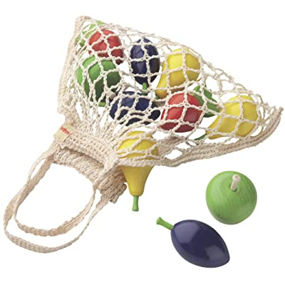 HABA Shopping Net Fruits - 10 Piece Wooden Pretend Play Food Set in Cotton Bag (Made in Germany): Toys & Games