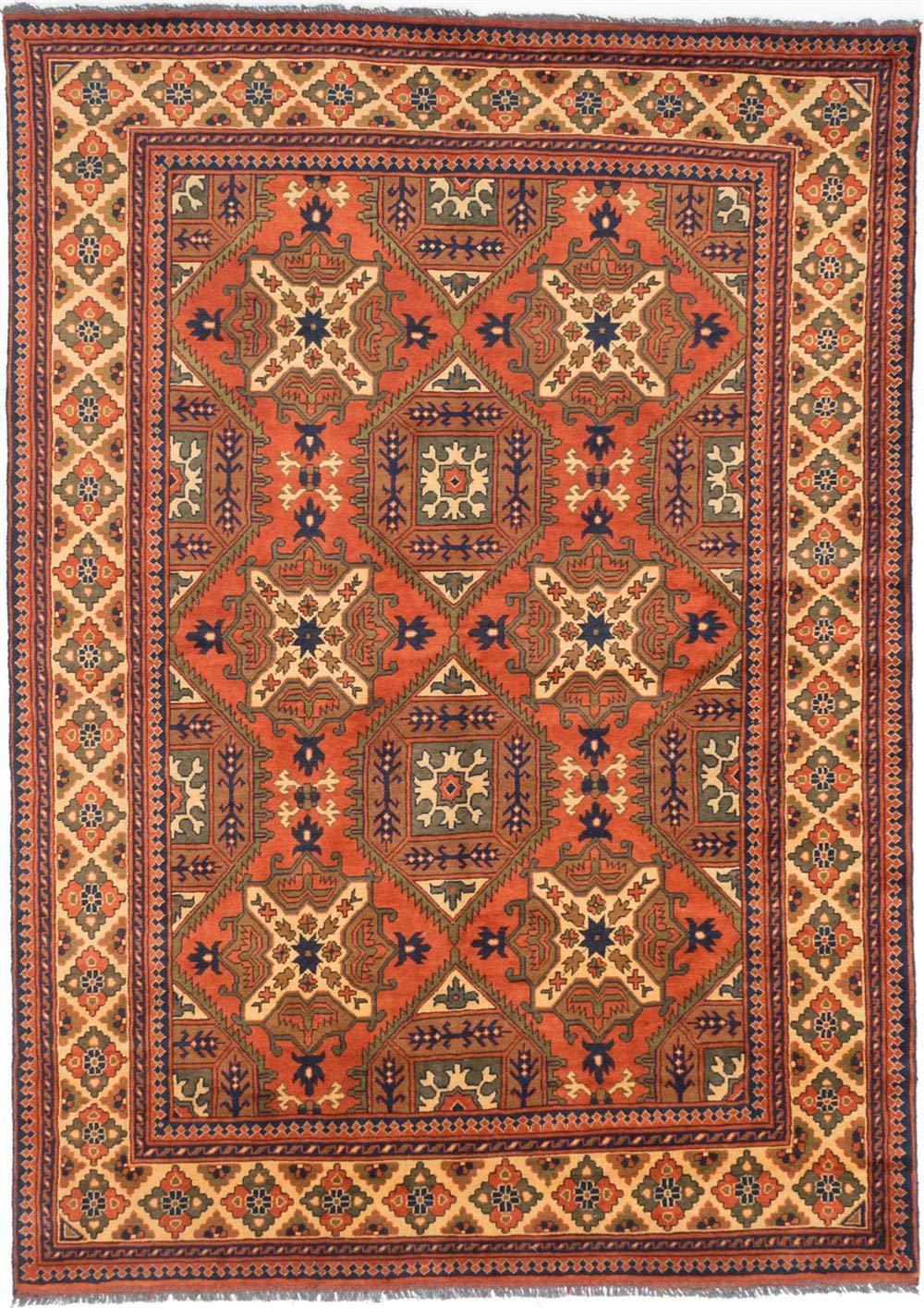 "eCarpet Gallery Large Area Rug for Living Room, Bedroom   Hand-Knotted Wool Rug   Finest Kargahi Traditional Brown Rug 6'9"" x 9'4""   203172"