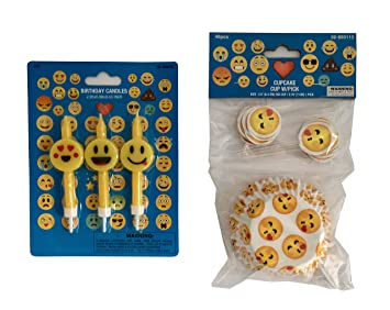 Emoji Birthday Candles Cupcake Liners Combo Pack Party Set Of 3