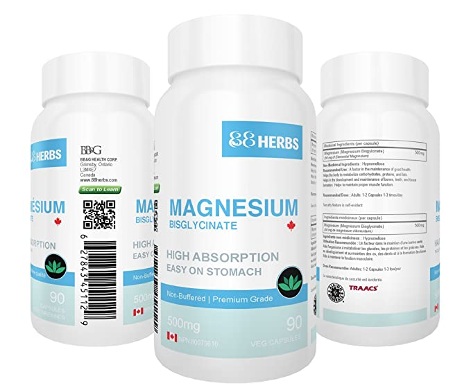 Magnesium Bisglycinate - Highest Absorption - Premium Grade - No Fillers - Non Buffered - 90 Veg Caps - 500mg Magnesium Bisglycinate per cap (50mg Elemental ...