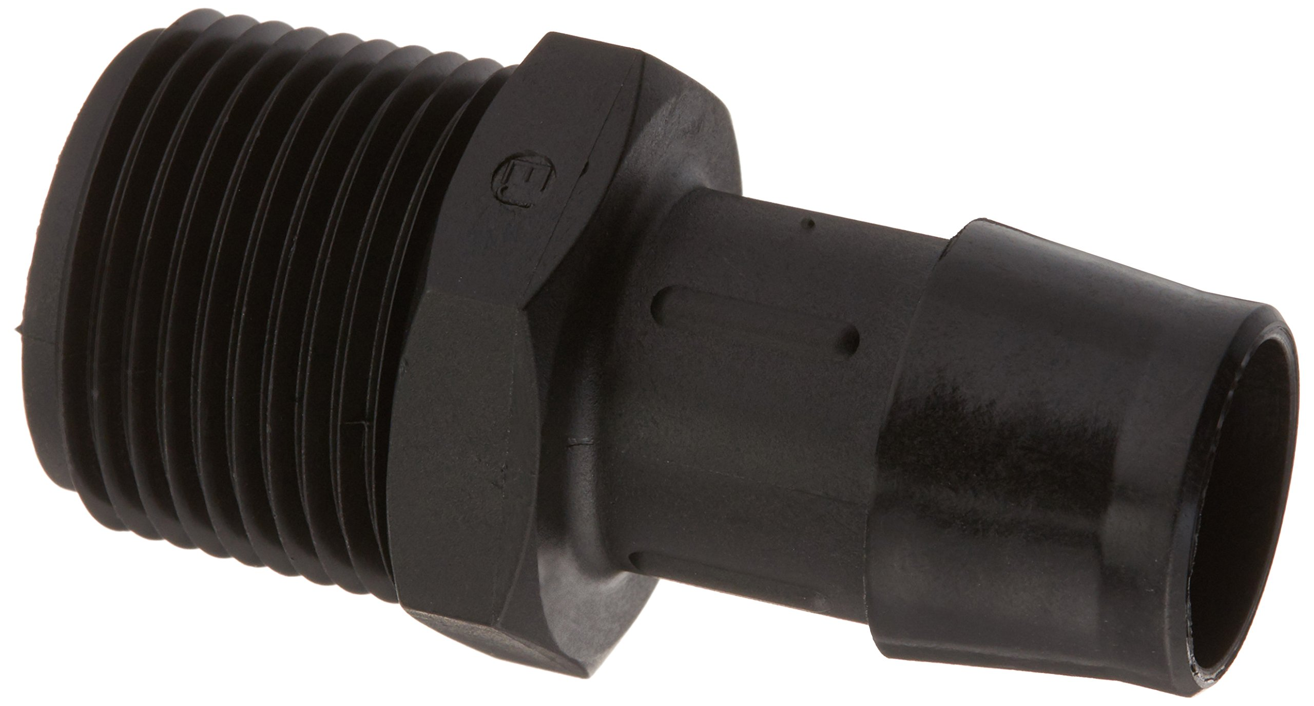 Eldon James A12-12GFBN Glass Filled Black Nylon Adapter Fitting, 3/4-14 NPT to 3/4'' Hose Barb (Pack of 10)