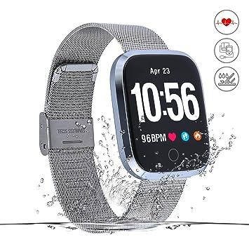 Monitor de Actividad,Reloj Inteligente de Fitness,Pantalla HD,Monitor de Actividad con podómetro/frecuencia cardíaca y Alarma NS/Mapa de Running ...