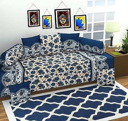Gurnoor 3D Printed Jaipuri Diwan Set(Blue)