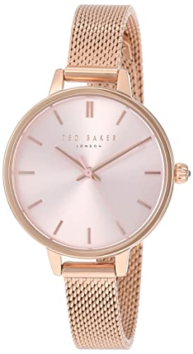 2a1c2247ae913 Ted Baker Womens Ted Baker Pink Dial Rose Gold Mesh Bracelet TE50070004   Amazon.co.uk  Watches