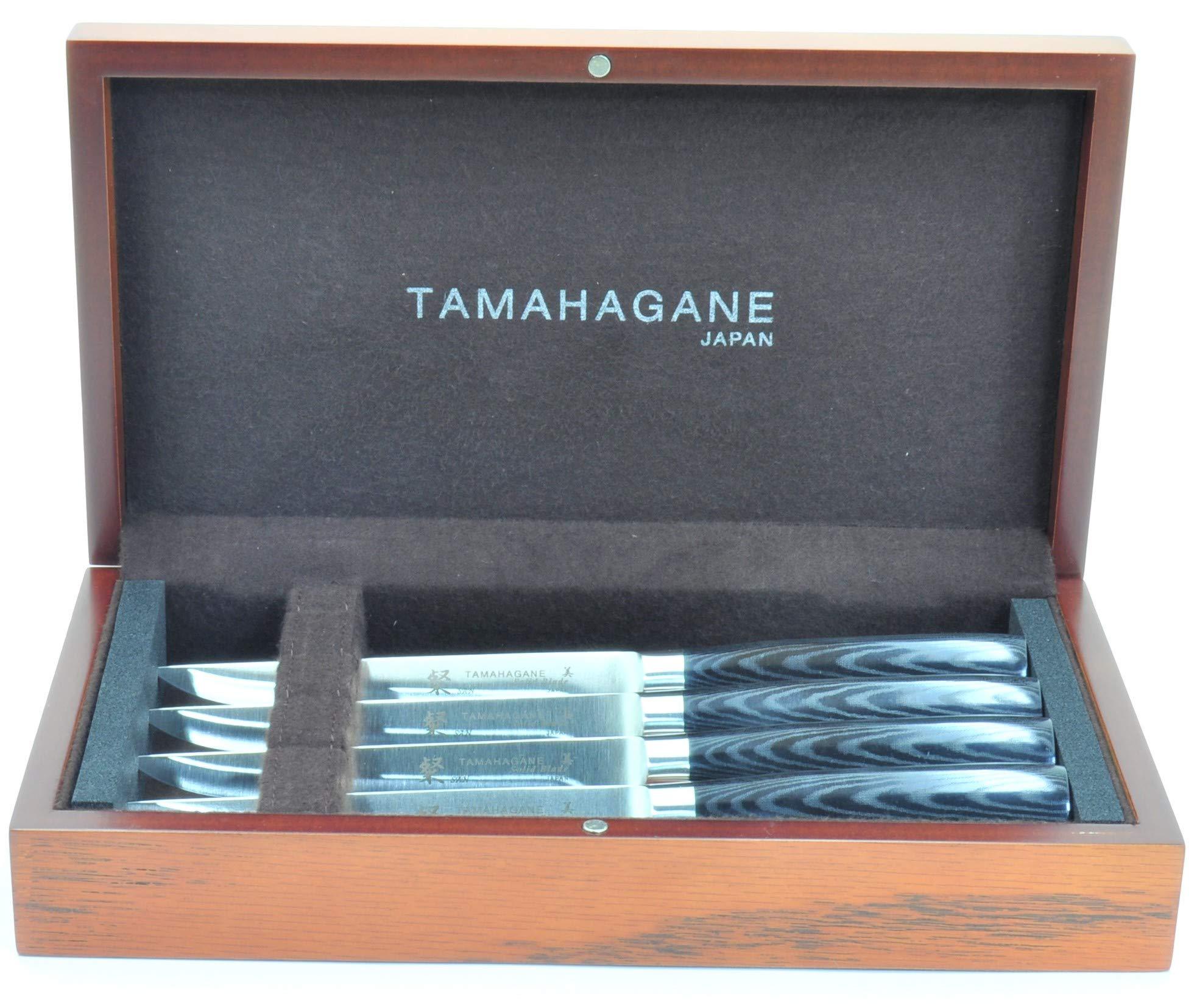 Tamahagane Tsubame Mikarta Stainless Steel 4-Pc Steak Knife Set in wooden case