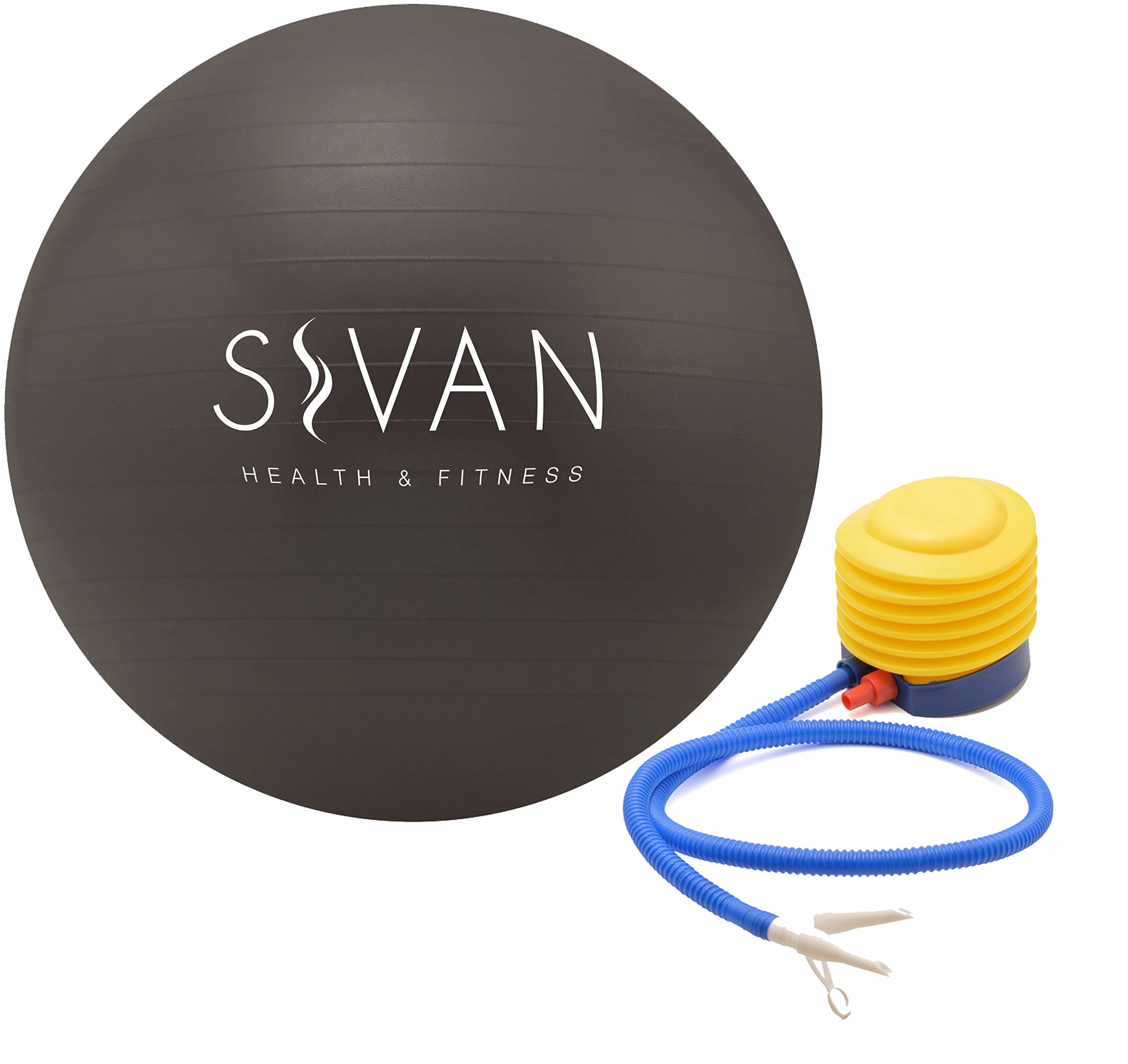 Sivan Health and Fitness Anti-Burst Stability Gym Ball, and Pump (75cm, Black)