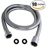 Shower Hose 98 Inches 8.2 ft Extra Long Stainless Steel Flexible Handheld Shower Head with Chrome Finishes - Best Detachable Handshower Extension Replacement Adapter with Brass Fitting