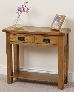 oak hall tables. Cotswold Rustic Solid Oak Console Table Hall Way Furniture, ( 85 X 35.5 76.5 Cm ): Amazon.co.uk: Kitchen \u0026 Home Tables