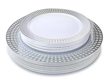 \u0026quot; OCCASIONS \u0026quot; 50 Piece Wedding Plastic Plates - Disposable Dinnerware for 25 guests  sc 1 st  Amazon.com & Amazon.com: \