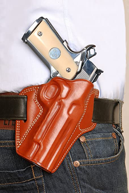 Leather Pancake OWB Holster for Springfield 1911 EMP 4''BBL Lightweight  Champion 9mm R/H Draw, Brown Color #1008#