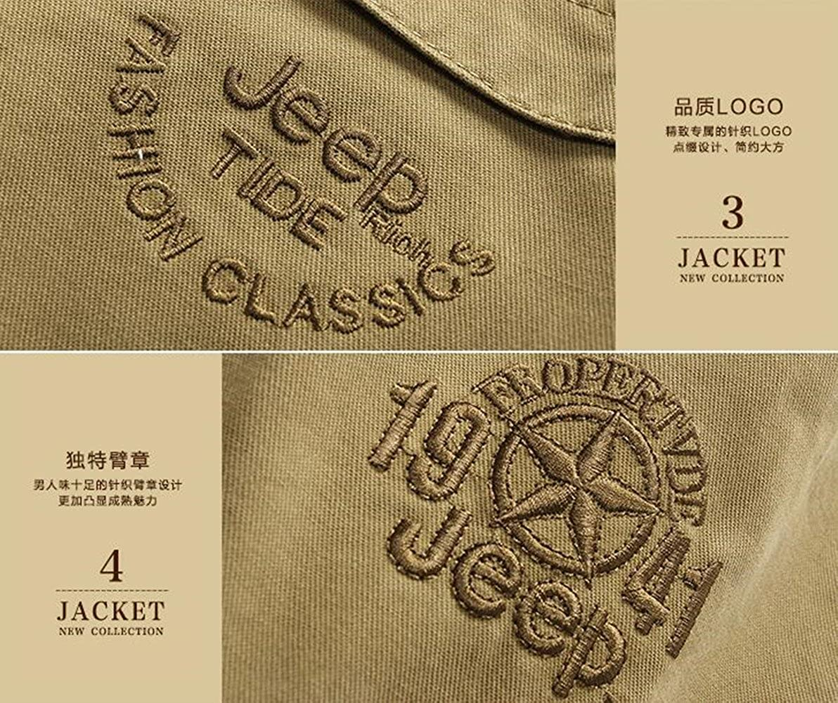 SZYYDS giacca primaverile con colletto rialzato da uomo stile militare esercito americano in cotone