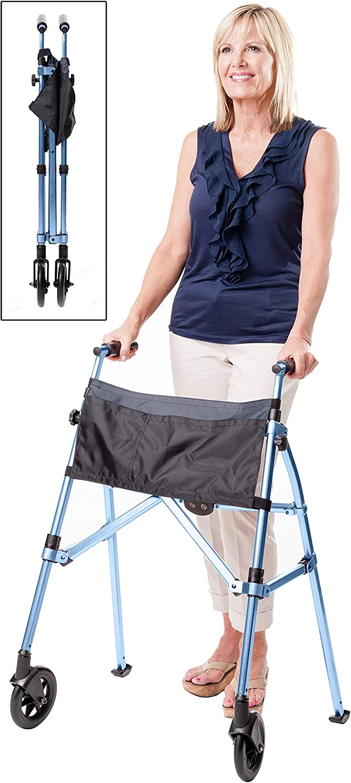 Stander EZ Fold-N-Go Walker, Lightweight Folding 2 Wheel Rolling Walker for Seniors with Swivel Wheels, Cobalt Blue