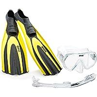 Mares Avanti Superchannel–Aletas de pie completo con sin marco máscara Snorkel Combo