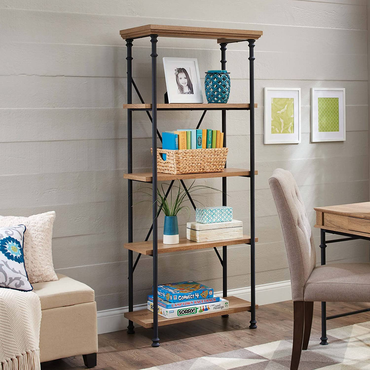 Amazon com  River Crest 5 Shelf Bookcase  Rustic Oak Finish by Better Homes  and Gardens   made of Wood   Metal  Kitchen   Dining. Amazon com  River Crest 5 Shelf Bookcase  Rustic Oak Finish by