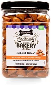 Three Dog Bakery Crunchy Pet-zel Bites with Peanut Butter Filling, Premium Treats for Dogs, 24 Ounce Resealable Container