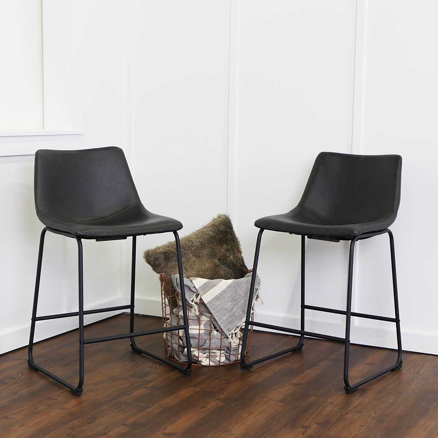 WE Furniture Black Faux Leather Counter Chairs, Set of 2
