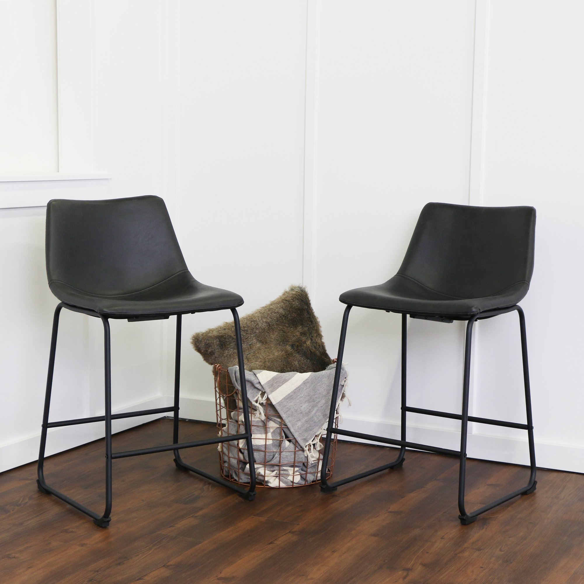 WE Furniture Black Faux Leather Counter Chairs, Set of 2 by WE Furniture