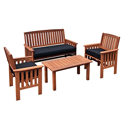 Delicieux CorLiving PEX 868 Z Miramar 4 Piece Hardwood Outdoor Chair And Coffee Table  Set