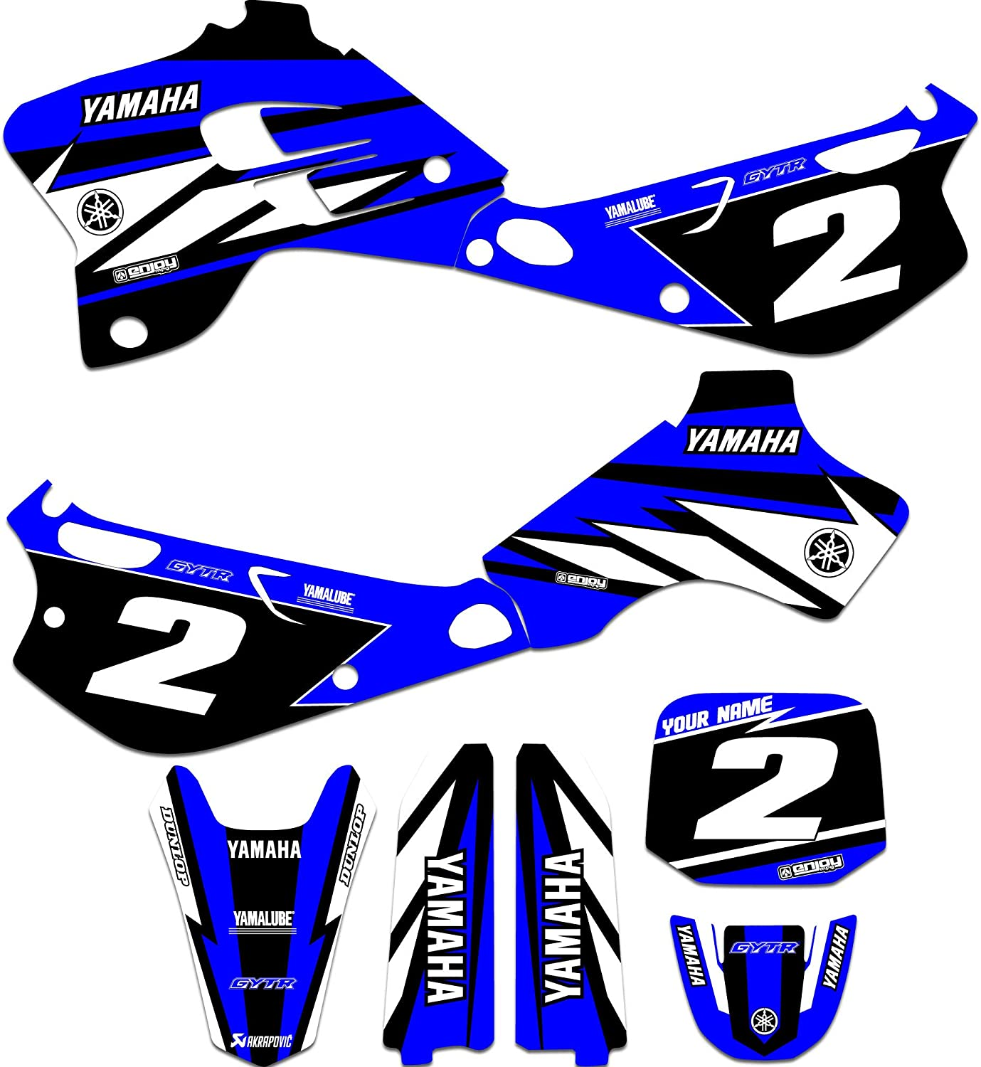 Enjoy Mfg Graphics Kit /& Custom Number Plate Combo Compatible Fit for 1993-2001 YAMAHA YZ 80 BLUE CHAMPION STYLE