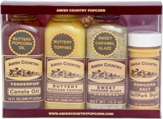product image for Amish Country Popcorn | Popcorn Topping Gift Set - Canola Oil, Buttery Topping, Sweet Caramel, & Ballpark Salt | Old Fashioned with Recipe Guide