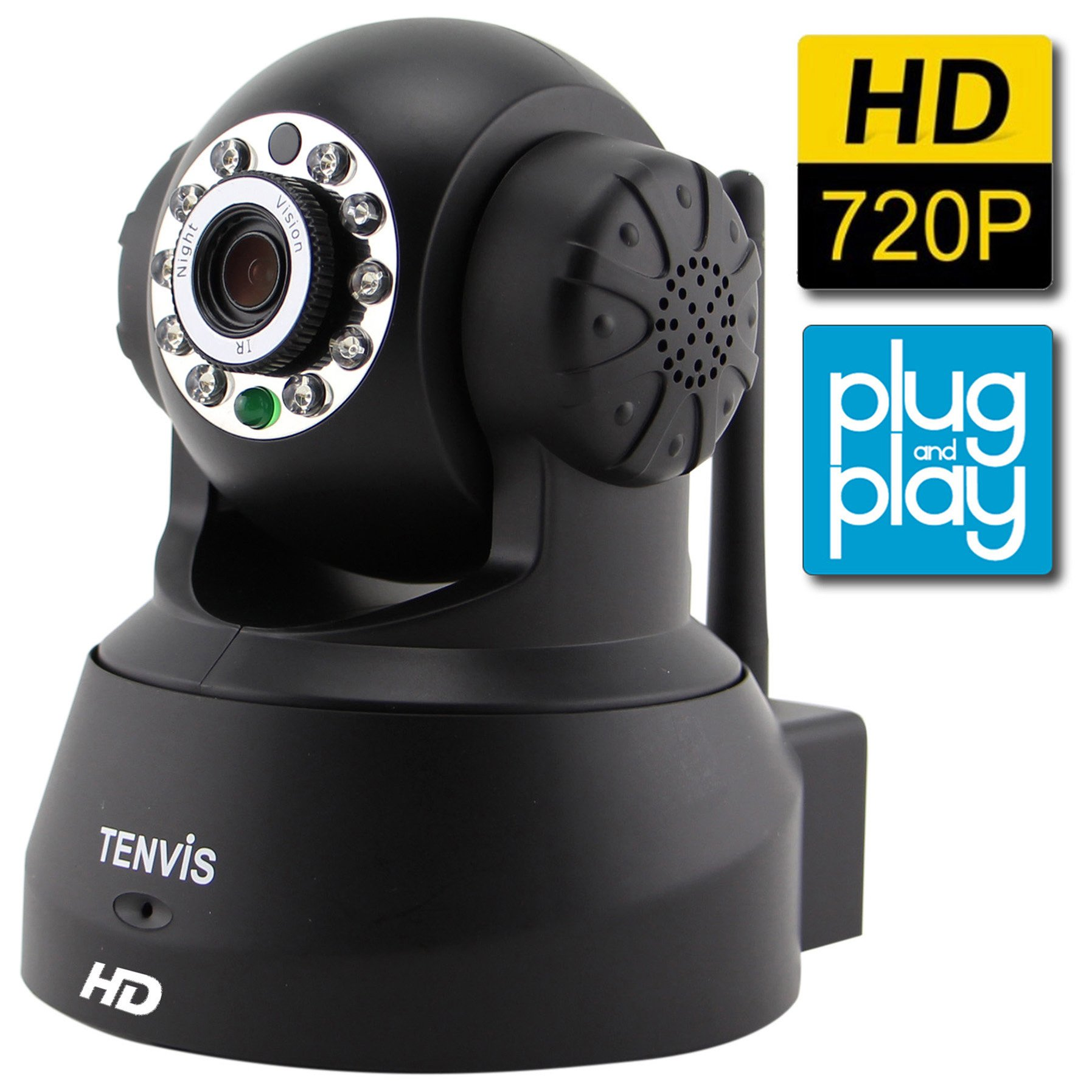 Smart Security Camera, Baby Monitor, TENVIS 720P H.264 Megapixel P2P Home WiFi Wireless Surveillance IP/Network Security Camera, Night Vision, Black