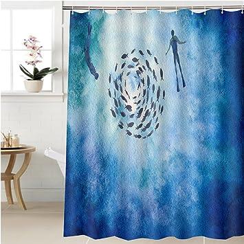 Amazon.com: Gzhihine Shower curtain beautiful hand painted ... on living room underwater, bedroom underwater, bathroom art underwater, bathroom under the sea,