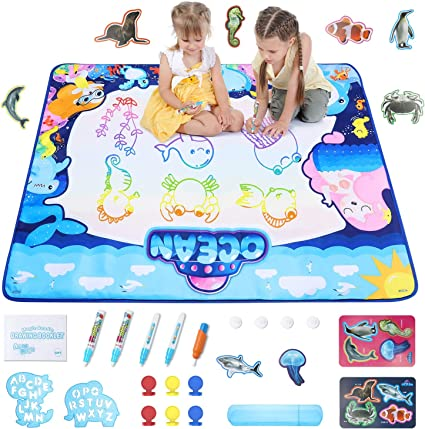 Amazon Com Aqua Magic Doodle Mat Theefun 40 X 32 Inch Large Water Drawing Mat Educational Learning Toys With 28pcs Drawing Accessories Best Gifts For Ages 3 4 5 6 7 8 Kids Toddlers Boys Girls Toys Games
