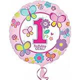 (アムスキャン) Amscan 1歳のお誕生日 Birthday Girl アルミ風船 パーティー バルーン 女の子