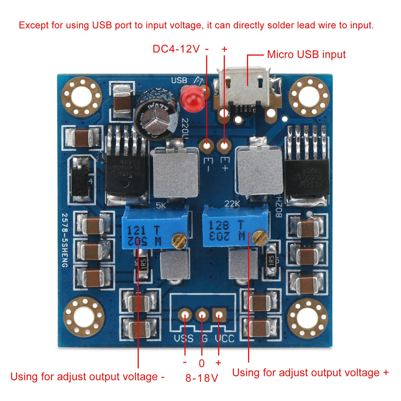 Drok Dc Power Voltage Converter 4 12v To 818v 18v Bipolar Regulated Supply Circuit Is Shown As Above Regulator Transformer With Micro Usb Input Port Single Positve