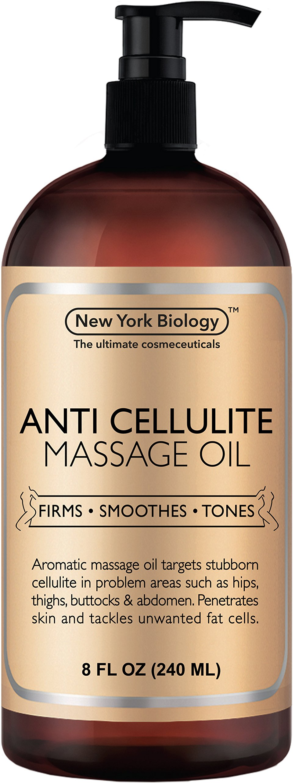 New York Biology Anti Cellulite Treatment Massage Oil - All Natural Ingredients - Infused with Essential Oils - Penetrates Skin and Targets Unwanted Fat Tissues - 8 oz by New York Biology