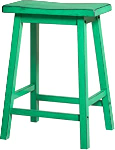 ModHaus Living Contemporary Style 29 inch Bar Height Bar Stools with Saddle Seat Green Finish (Set of 2) - Includes Pen