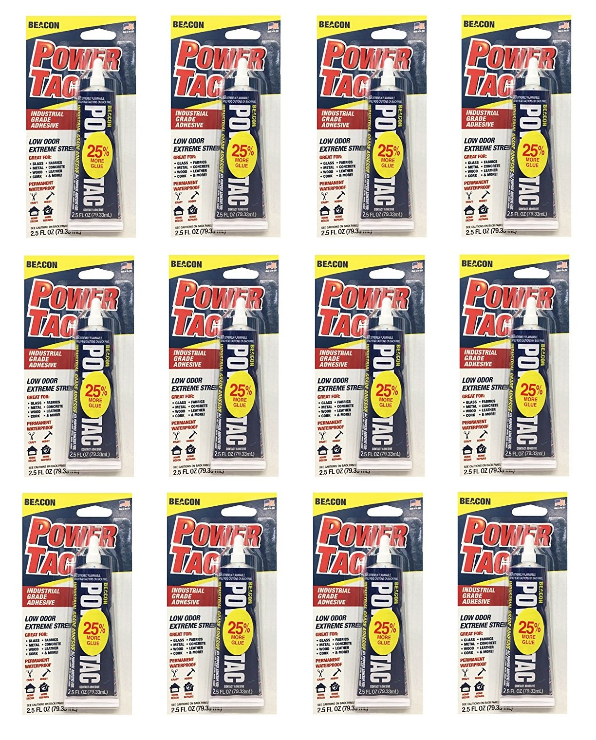 Beacon Power-Tac All Purpose Glue (2.5-Ounce Tube (12-Pack))